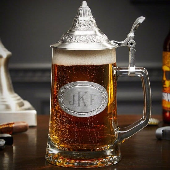 Monogrammed German Beer Stein with Decorated Pewter Lid