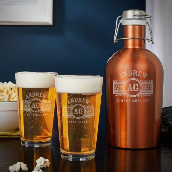 Engraved Copper Growler with Pint Glasses Set