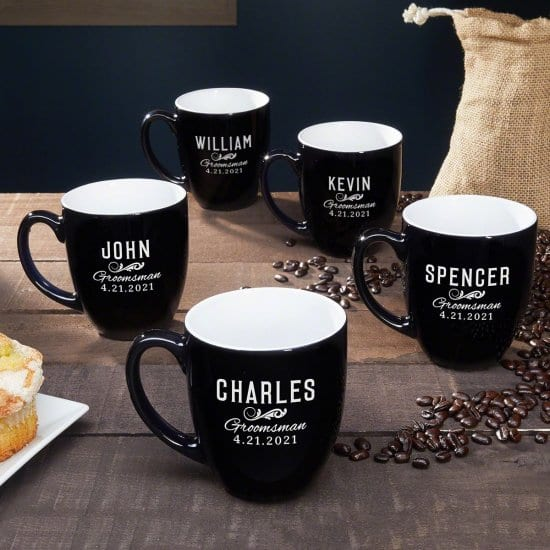 Five Engraved Coffee Mugs for Weddings