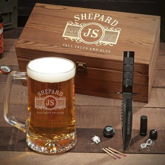 Personalized Beer Mug Gift Basket with Survival Knife