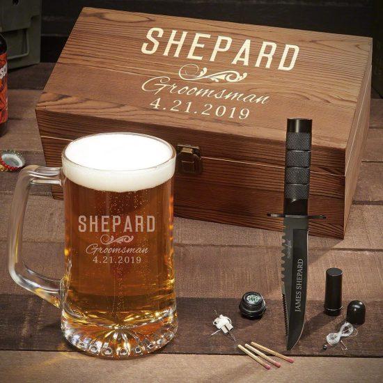 Groomsman Beer Mug and Knife Gift Set