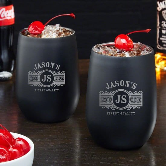 Engraved Steel Cocktail Glasses