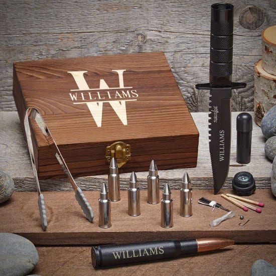 Personalized Bullet Whiskey Stone Set with Survival Knife