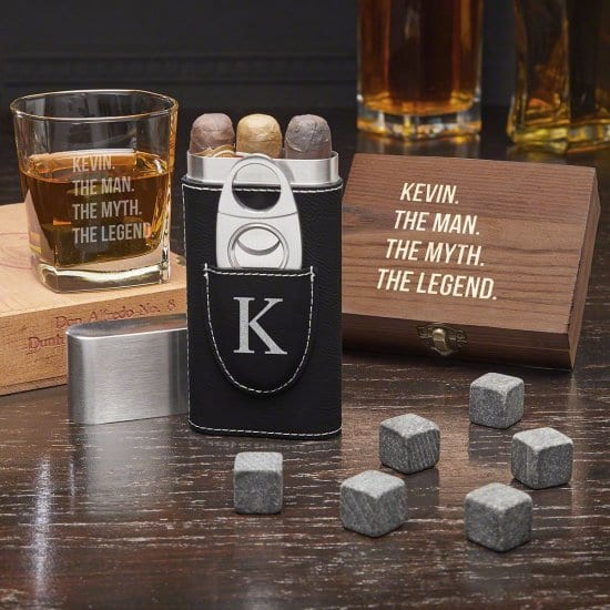 Custom Whiskey and Cigar Gift Set is a Birthday Gift for Husbands