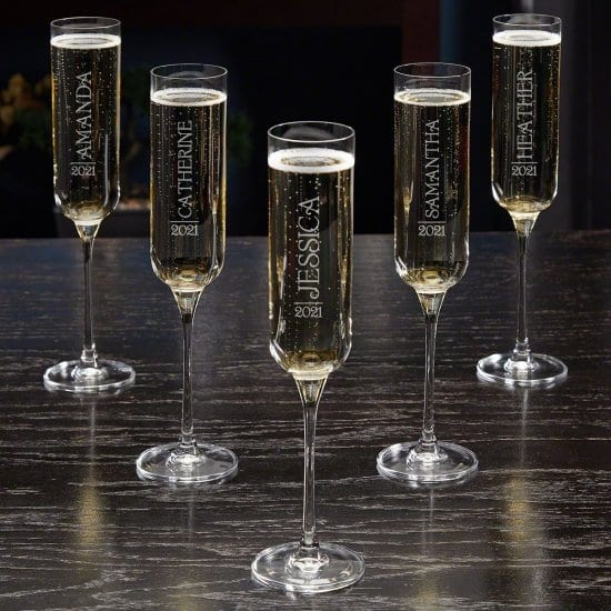 Set of Five Custom Champagne Wedding Glasses