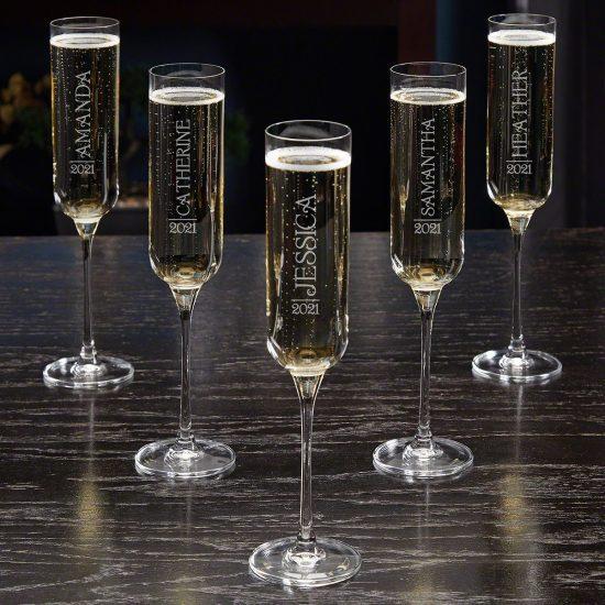 Set of Five Custom Champagne Wedding Glasses