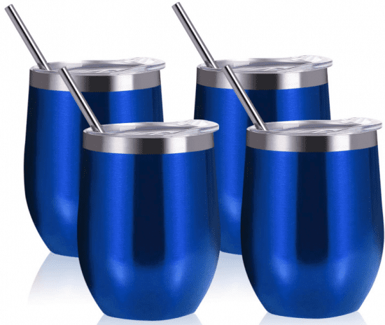 Set of Four Tumblers with Straws