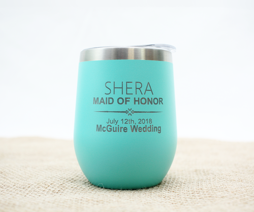 Customizable Wedding Party Wine Tumbler