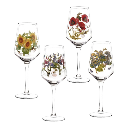 Set of Unique Floral Wine Glasses