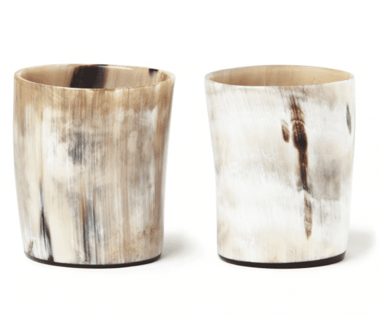 Two Tumblers Made from Real Ox Horns