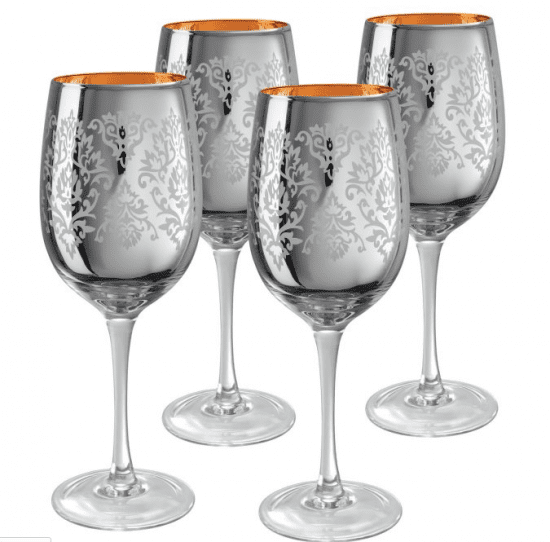Gold and Silver Stemmed Wine Glasses