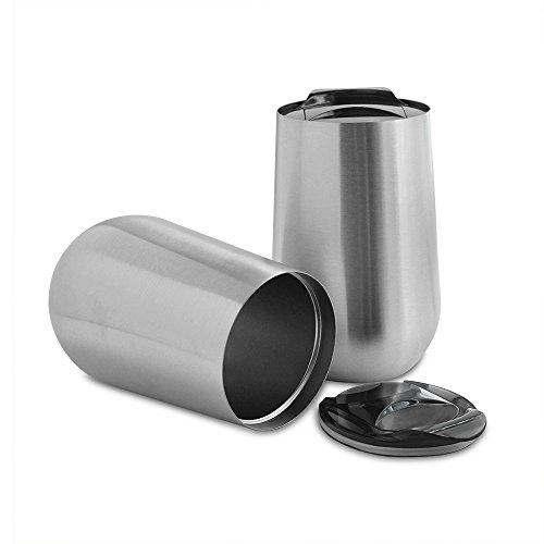 Set of Two Stainless Steel Wine Tumblers