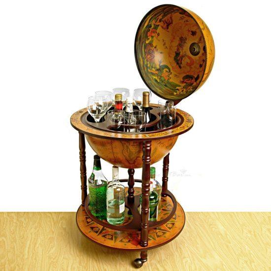 Antique Globe with Hidden Bar Cart