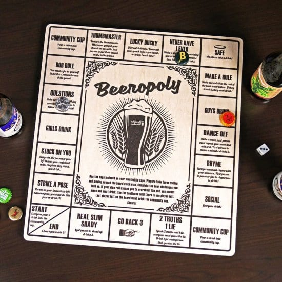 Beeropoly Wooden Board Game