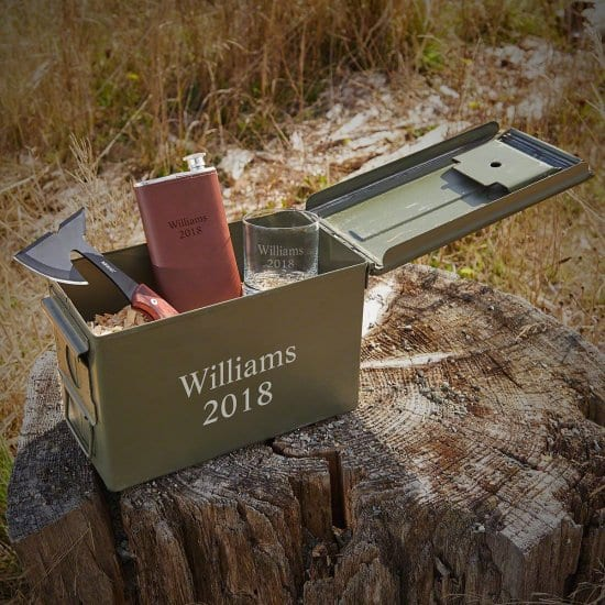Outdoorsy Ammo Can with Flask and Hatchet