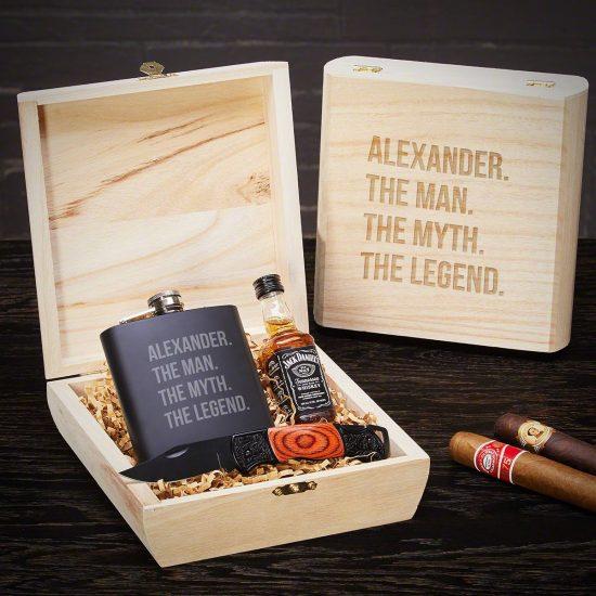 Engraved Flask Gift Set with Pocket Knife