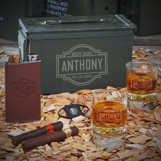 Cigar and Whiskey Ammo Can Gift Set
