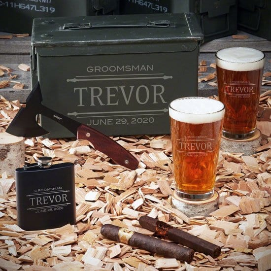 Custom Ammo Box Set with Pint Glasses and Hatchet