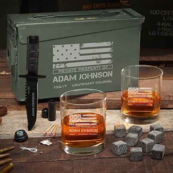 Patriotic Whiskey Ammo Box Set with Tactical Knife