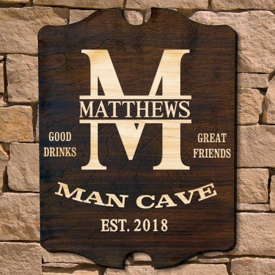 Personalized Wooden Man Cave Sign for Dads Who Have Everything