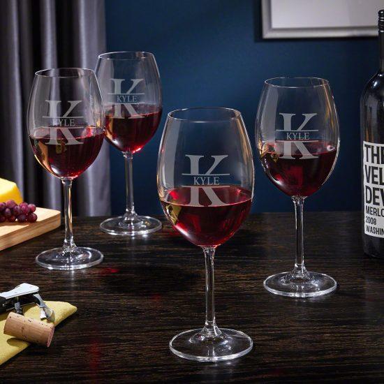 Set of Four Custom Stemmed Red Wine Glasses