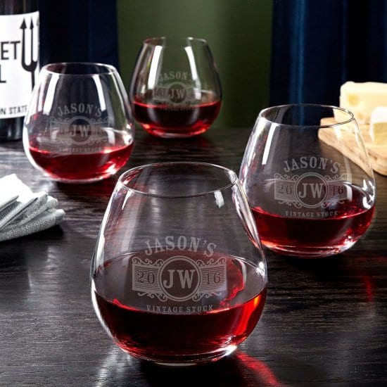 Set of Four Custom Burgundy Red Wine Glasses