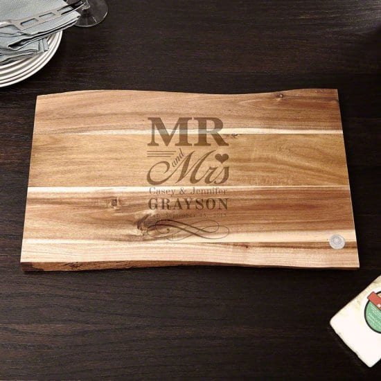 Mr and Mrs Custom Cutting Board is a Good Anniversary Gift for Him