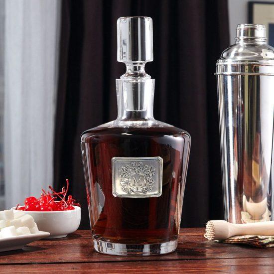 Hand Blown Crested Bourbon Decanter