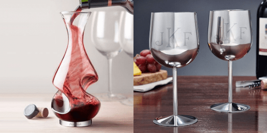 Wine Aerator and Stainless Steel Wine Glasses