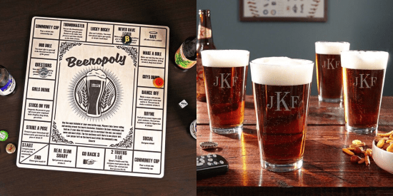 Beeropoly Game and Four Pint Glasses