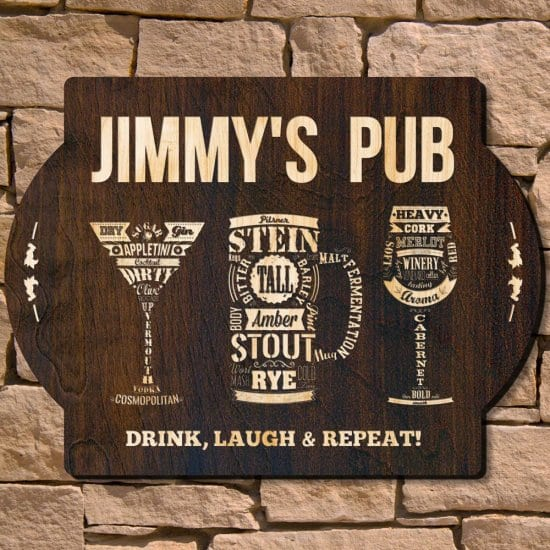 Personalized Wooden Bar Sign