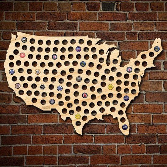 Beer Cap Map Gift Idea for Guys