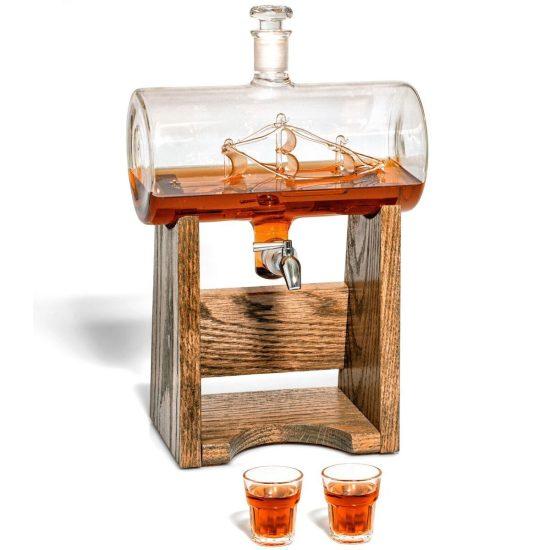Glass Ship Bourbon Decanter Set