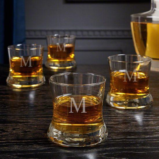 Set of Unique Personalized Bourbon Glasses