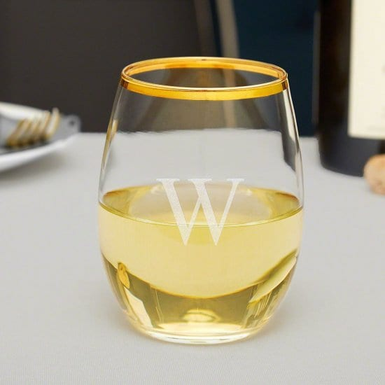 Stemless Wine Glass with Gold Rim