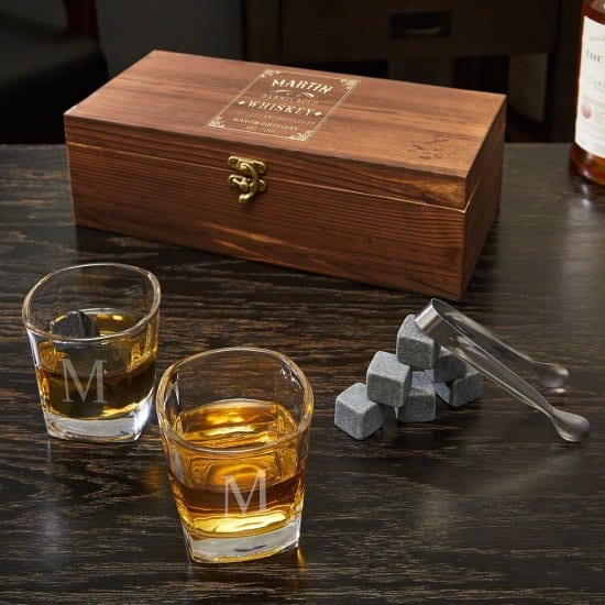 Personalized Box Set of Whiskey Glasses and Stones