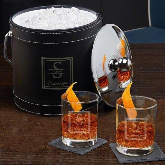 Custom Ice Bucket and Cocktail Glasses