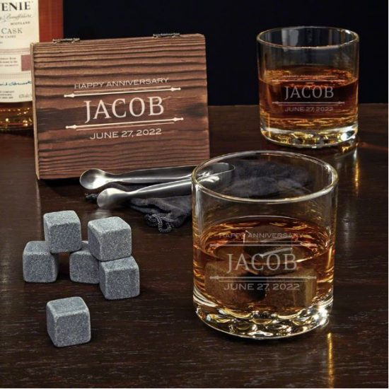 Personalized Whiskey Stone Set of Anniversary Gifts