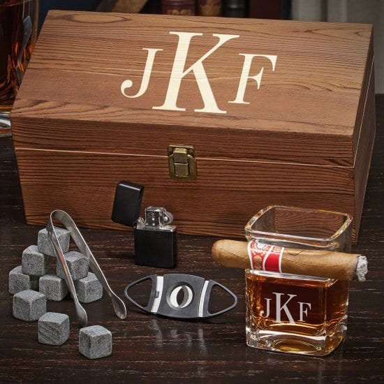 Monogrammed Cigar Glass Set with Whiskey Stones
