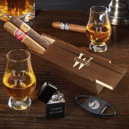 Personalized Glencairn Whiskey and Cigar Gift Set