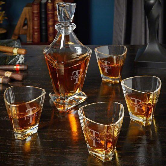 Custom Triangular Decanter with Scotch Glasses