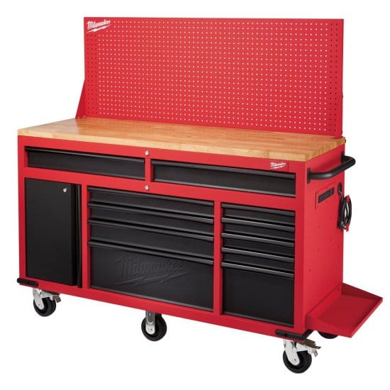 Red and Black Mobile Work Bench