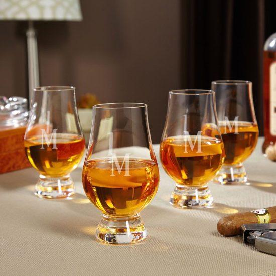 Set of Four Engraved Glencairn Whiskey Glasses