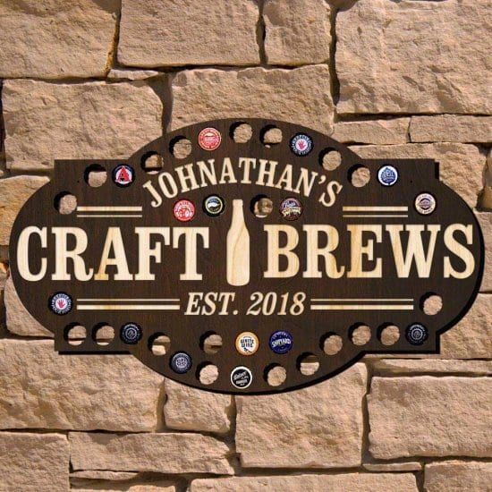 Personalized Brewery Bottle Cap Sign