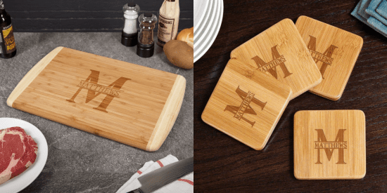 Bamboo Cutting Board and Coasters