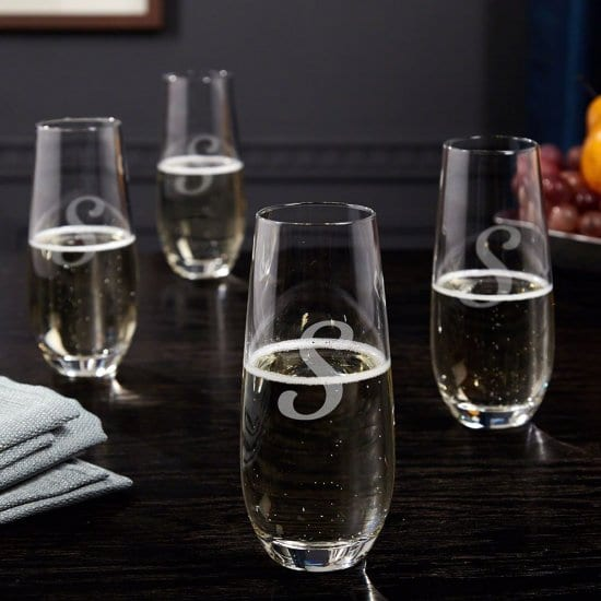 Set of 4 Engraved Stemless Champagne Flutes