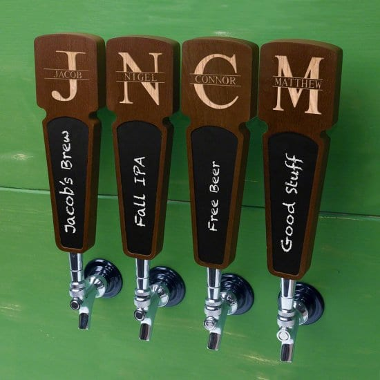 Personalized Wooden Beer Tap Handles with Chalkboard Area