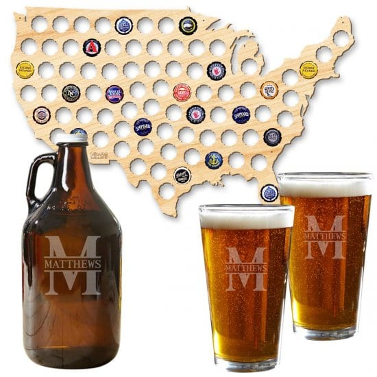 Gift for Beer Drinker Growler. Pint Glasses, and Beer Cap Map