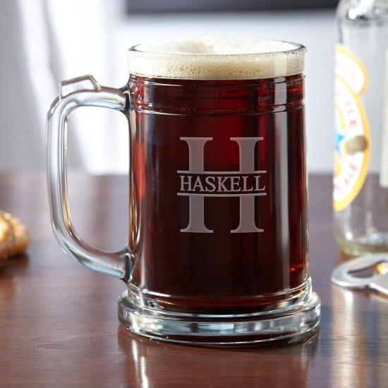 Personalized Glass Thumb Hold Beer Mug