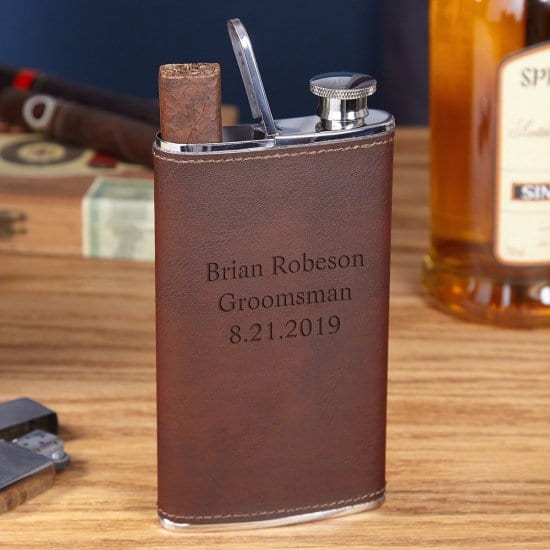 Personalized Leather Wrapped Cigar Flask